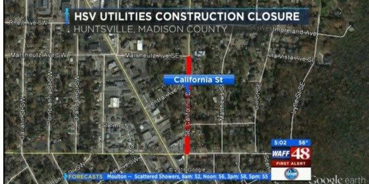 FIRST ALERT: Huntsville Utilities working near California Street