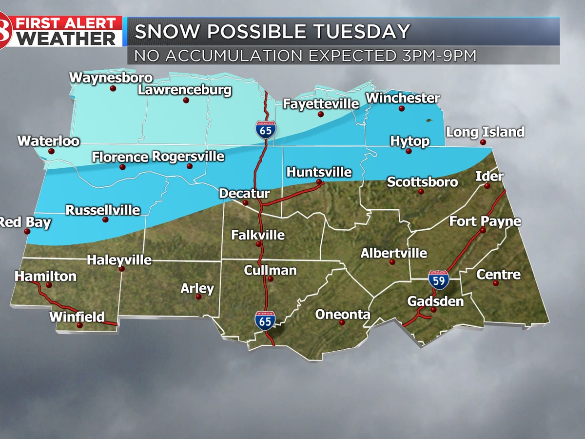 Cold front bringing snow potential Tuesday