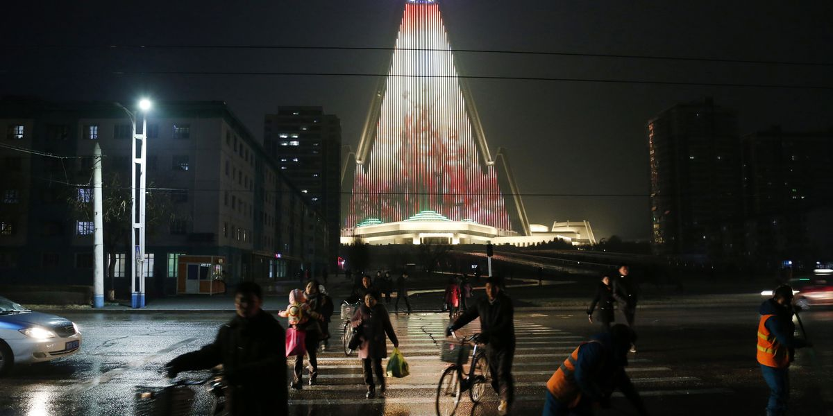 World's tallest empty hotel lit up with N. Korean propaganda
