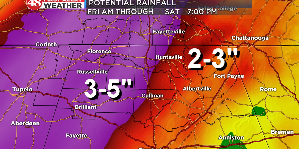 First Alert for heavy rain potential Friday, Saturday