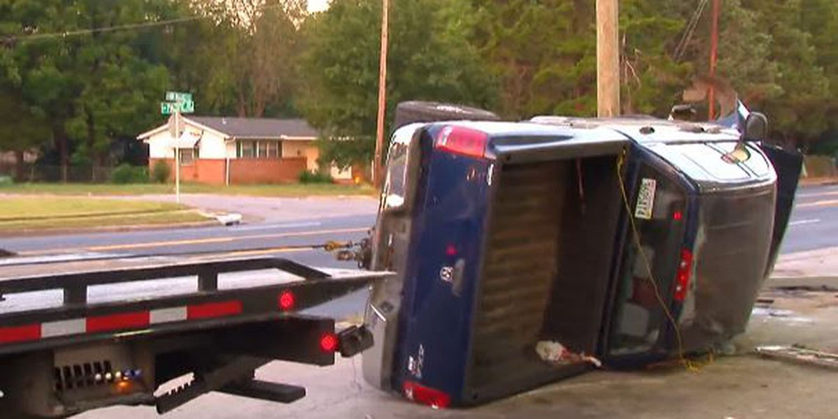 Overturned truck on Bob Wallace causing delays