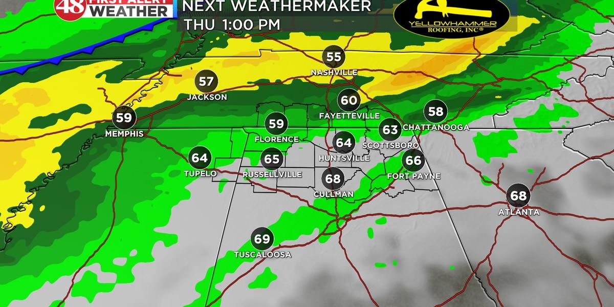 40s overnight with rain likely on Thursday