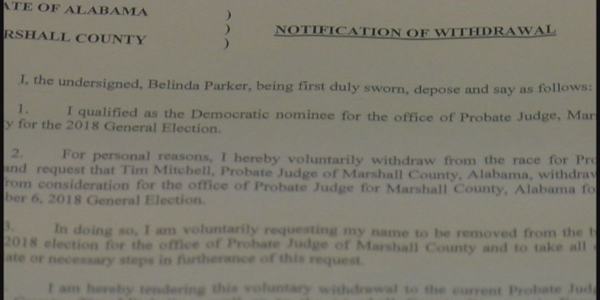Marshall County Democratic probate judge candidate withdraws from race