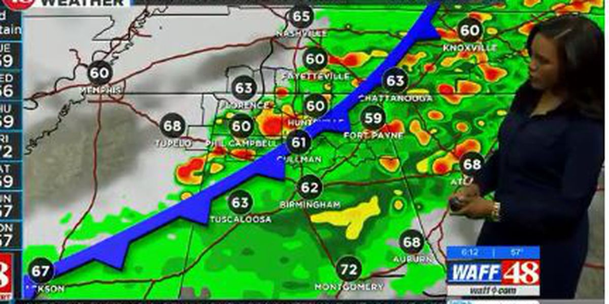 Showers and storms possibly moving through the TN Valley for Monday afternoon