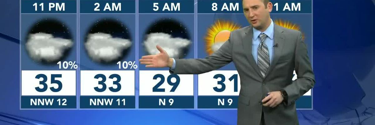 Cloudy, and cold night ahead