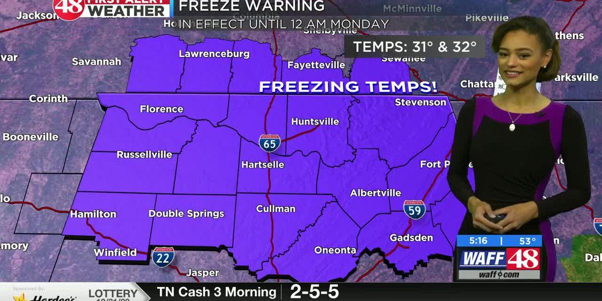 Freeze warning to start workweek, followed by more seasonal temps