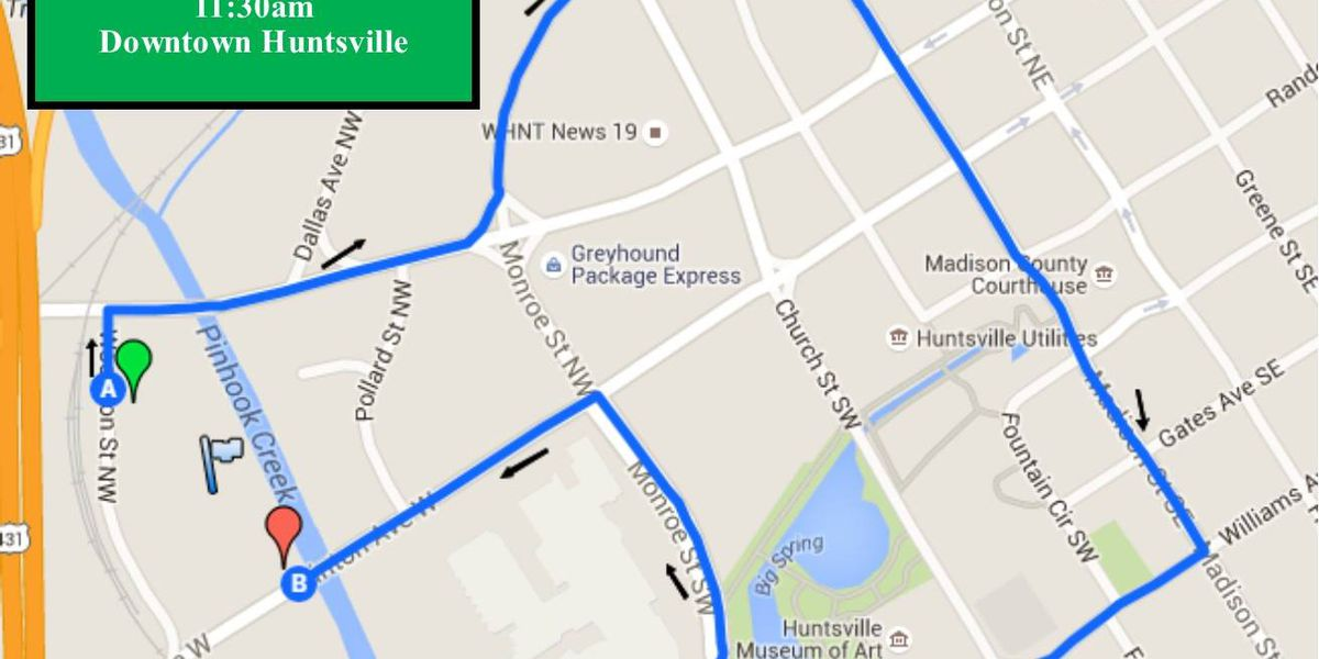 Huntsville St. Patrick's Day Parade Route
