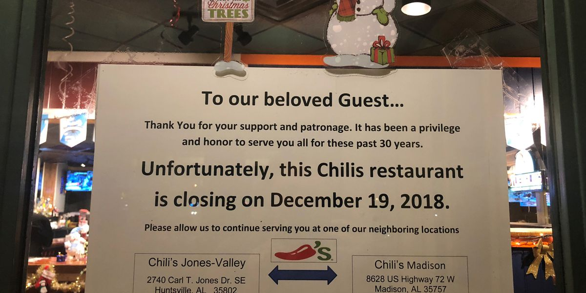 Is Chilis Open On Christmas.Chili S Closing One Of Its Huntsville Locations