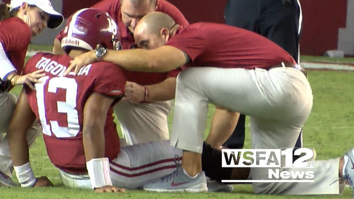 Touching moment captured after injury scare for Tide QB