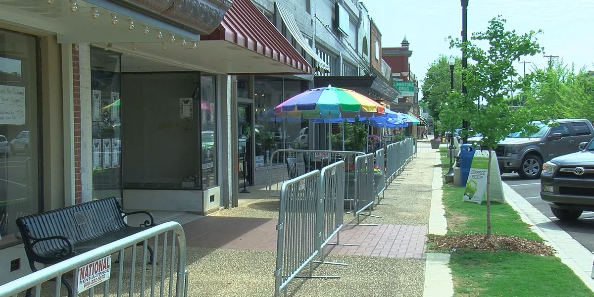 Sidewalk designated as dining space in downtown Athens