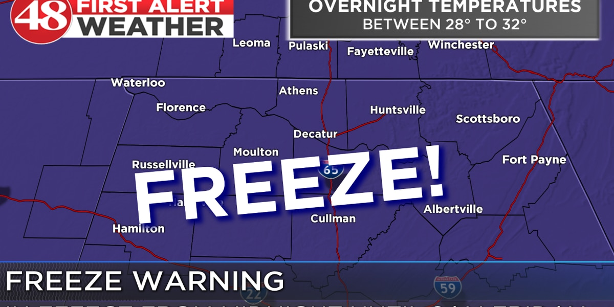 Freeze warning in effect Friday morning