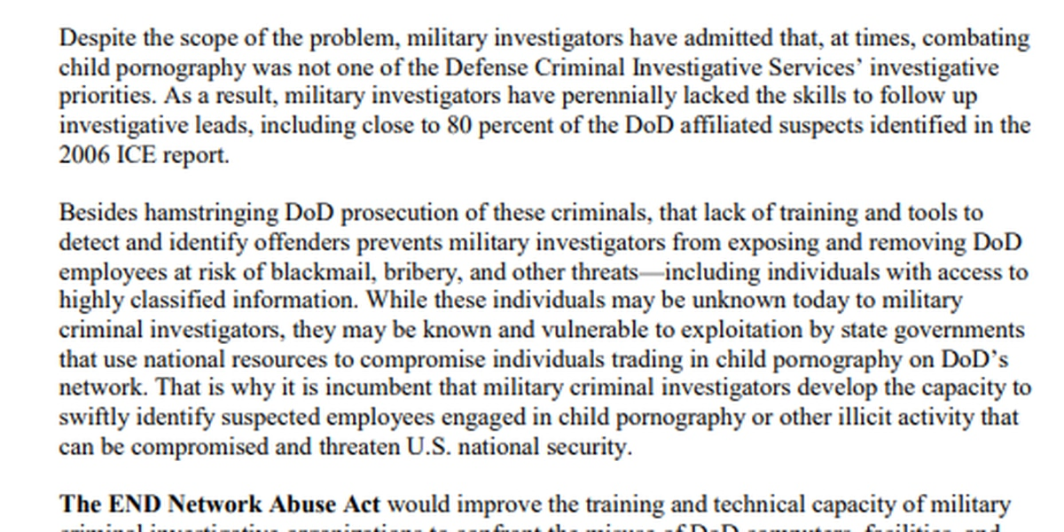 Bipartisan bill aims to stop child pornography trafficking through the DOD network