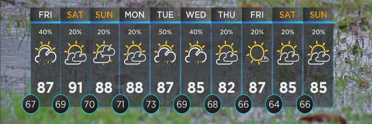 Isolated shower, storm chances Friday
