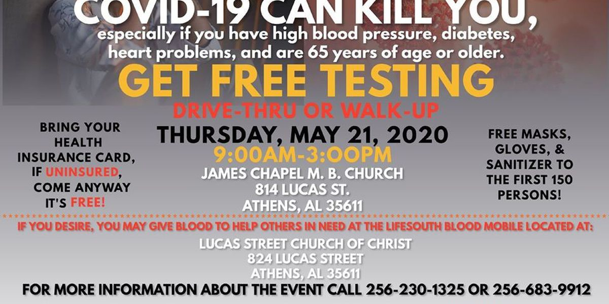 Limestone County NAACP offering free COVID-19 testing Thursday
