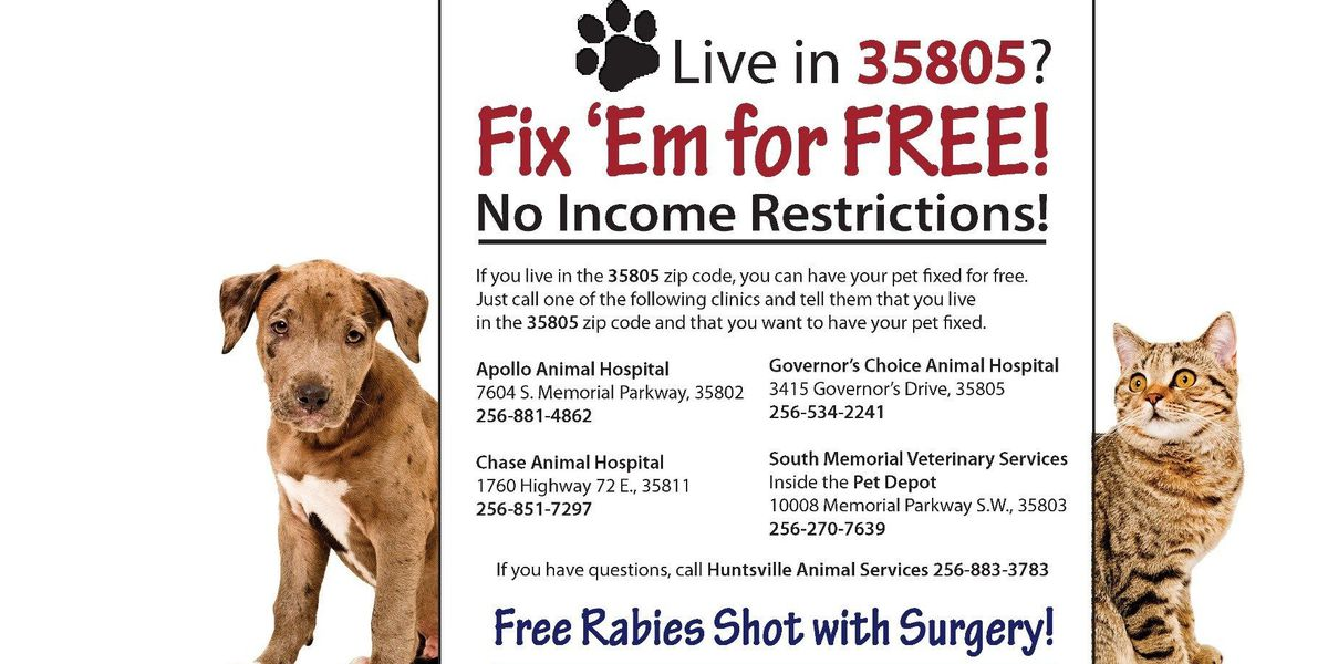Huntsville Animal Services offering free spay, neuter services