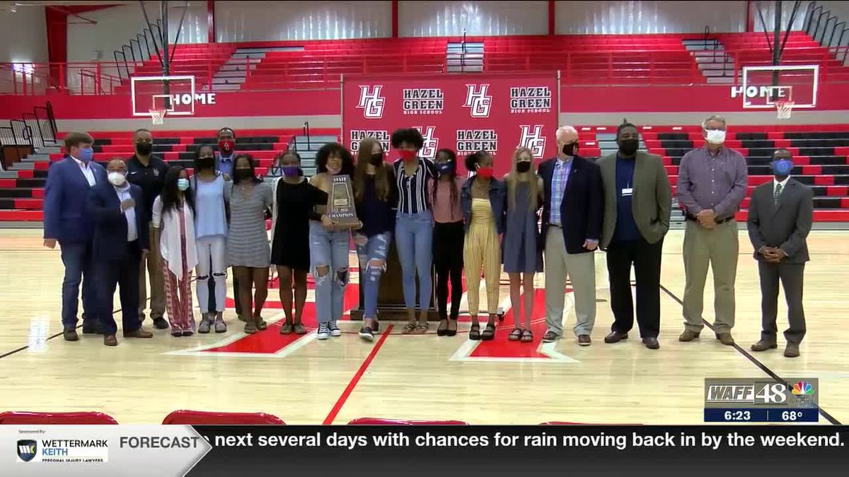 Hazel Green receives 4th straight girls basketball state championship trophy