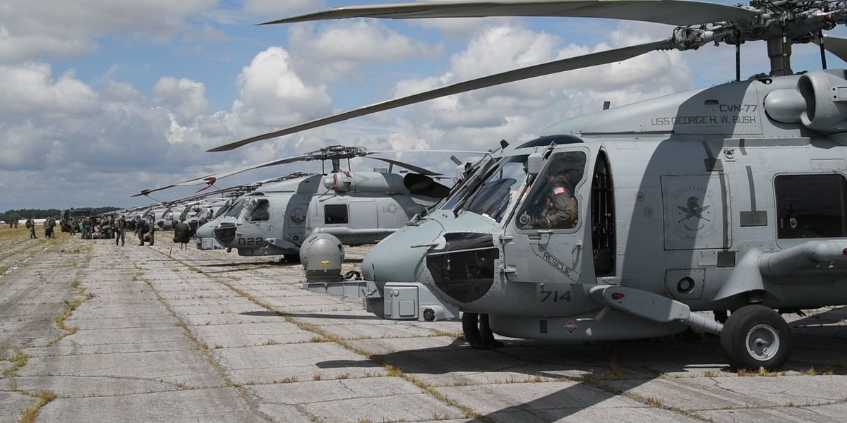 Maxwell AFB stages for FEMA, lands 50+ Navy helicopters from coast
