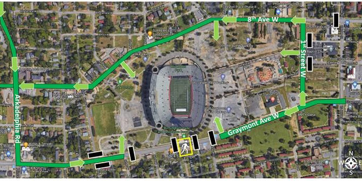 Traffic guidance for Magic City Classic weekend