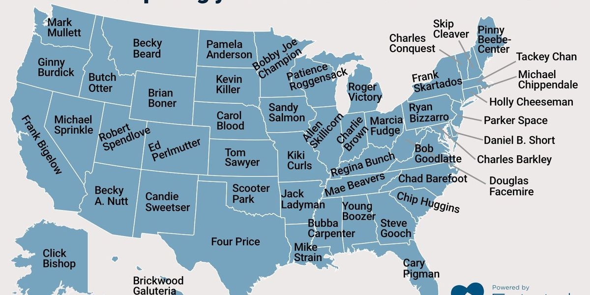 Hilarious map shows most surprisingly-named elected official in every state