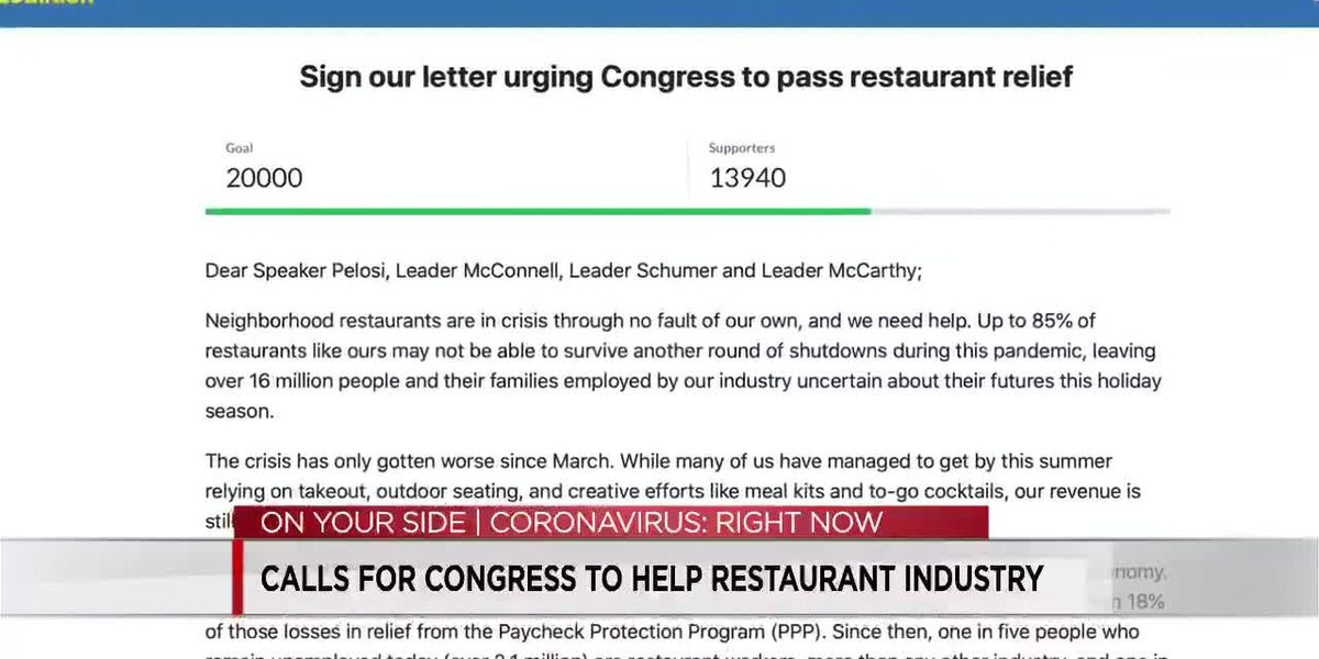 Restaurants urging for lawmakers to provide pandemic assistance in the next stimulus bill