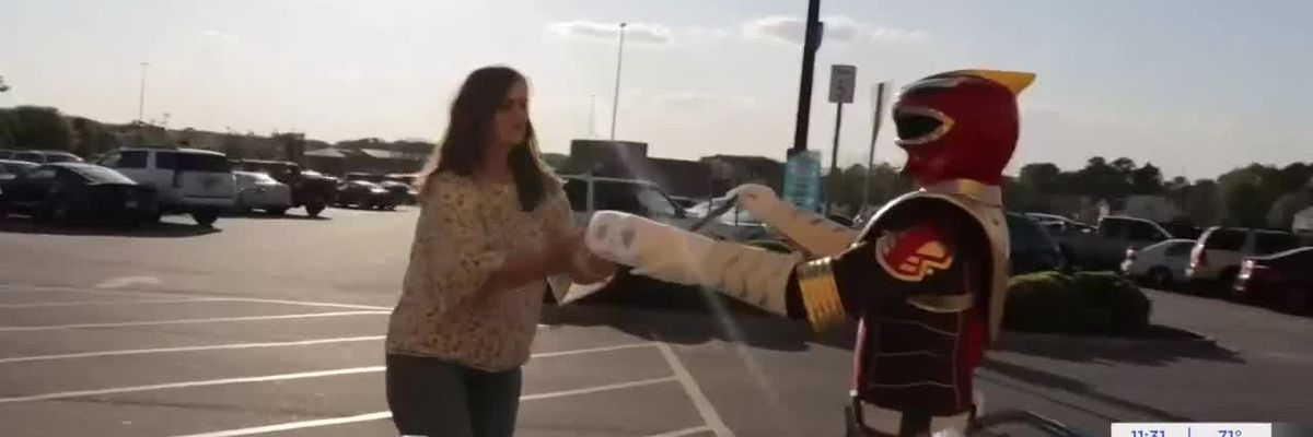 Power Ranger gives out toilet paper and cash at Moultrie Walmart