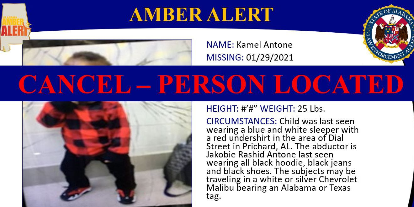 Amber Alert canceled after 11-month-old abducted near Mobile found