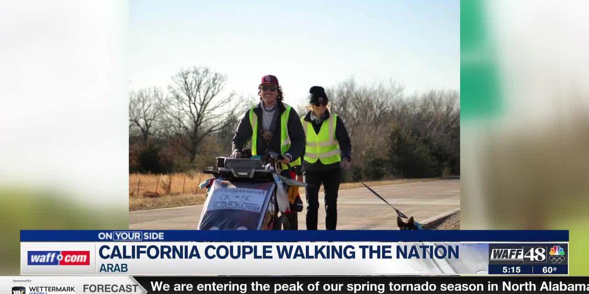 California couple walking cross-country to raise money for nonprofit travels through Alabama