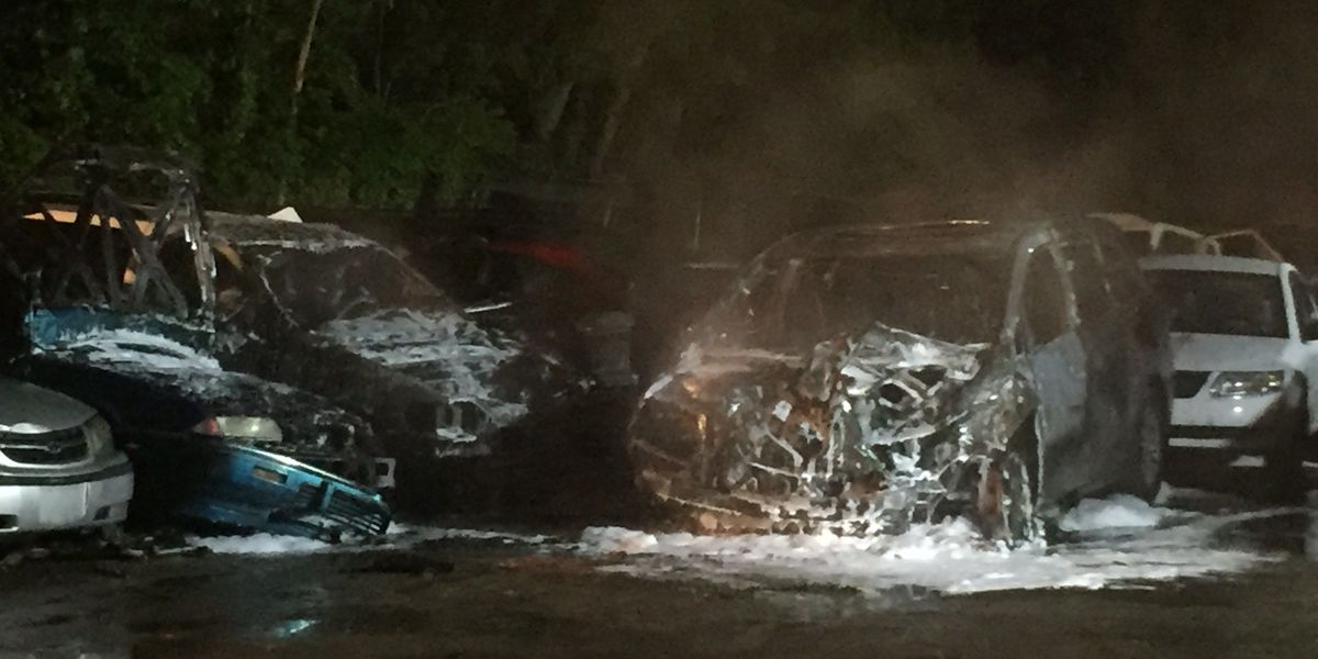 Early morning junkyard fire destroys several cars