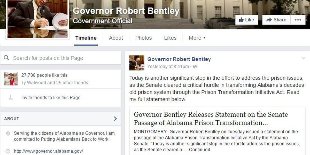 FIRST ALERT: Governor Bentley's Facebook page disallows viewing of comments