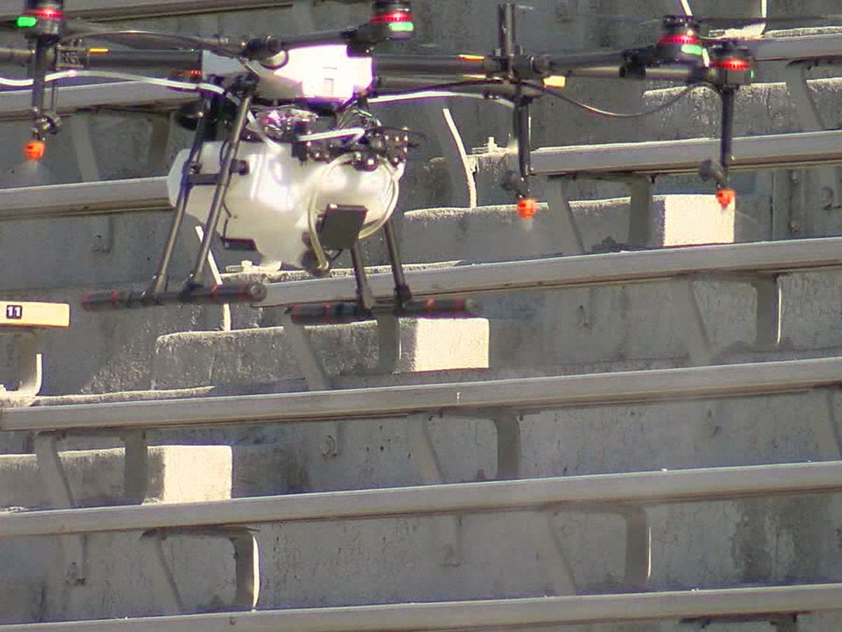 Drone being used to clean stadium before Magic City Classic