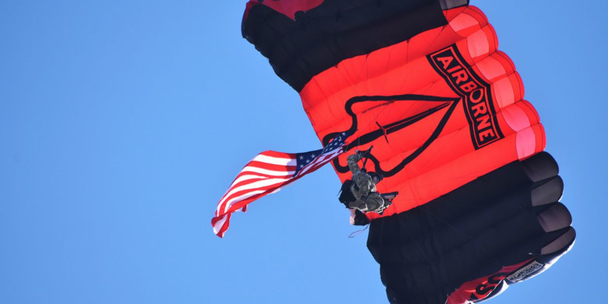 Army parachute team saluting health care workers in north Alabama on Thursday