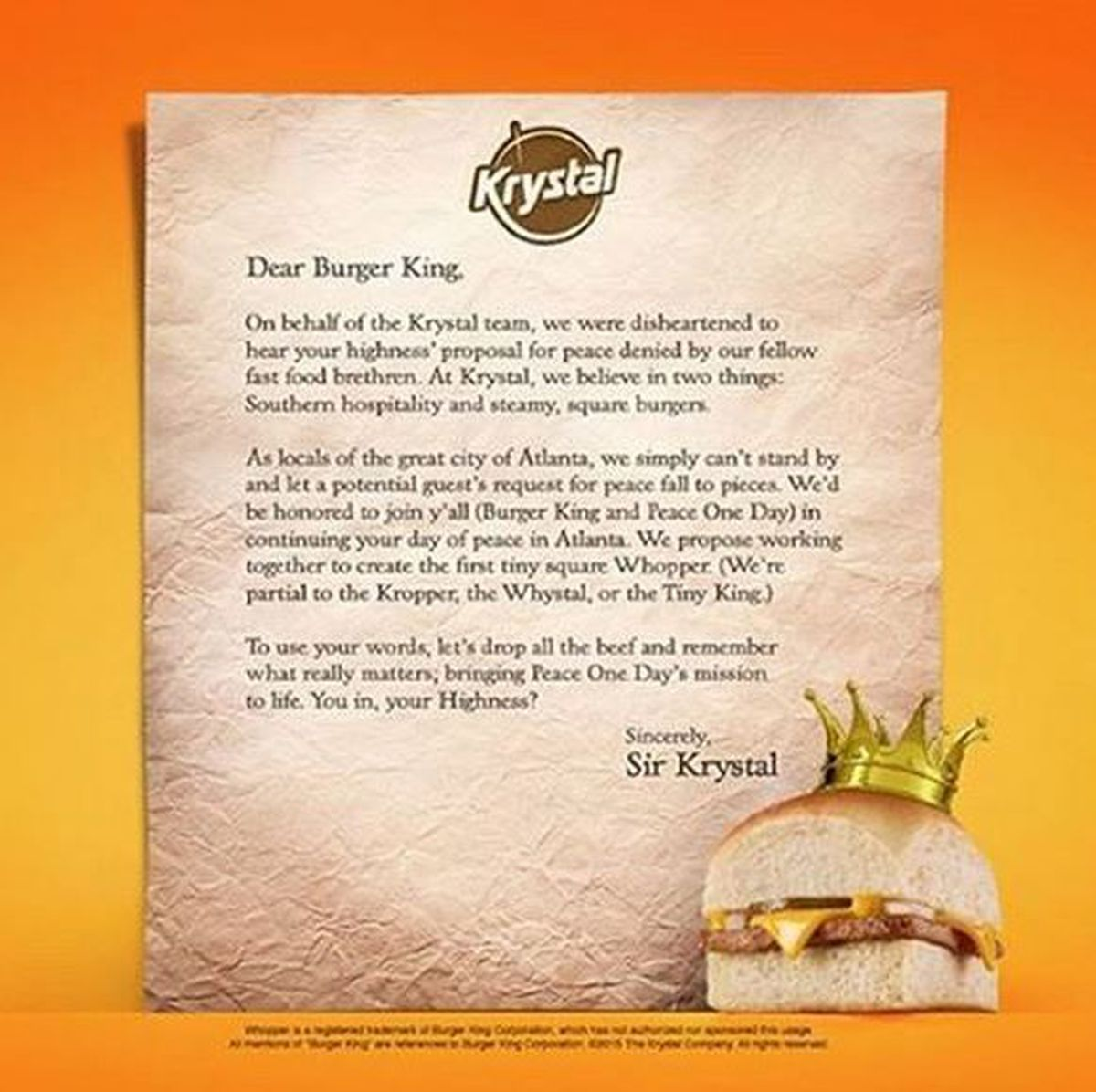 Krystal proposes peace treaty with Burger King