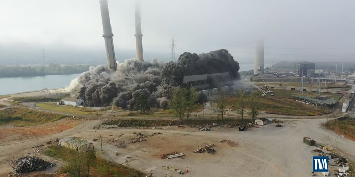 TVA safely implodes Widows Creek Coal Stacks
