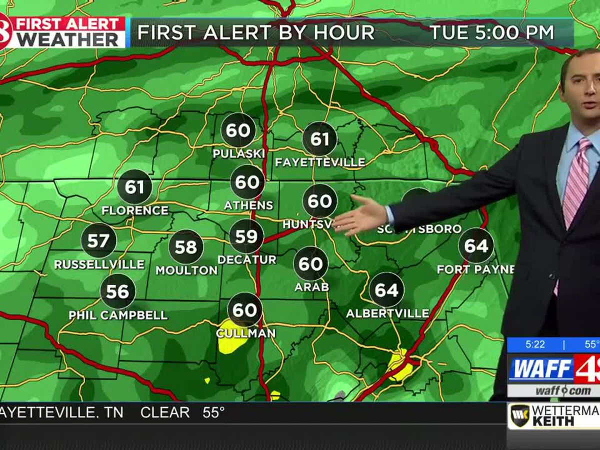 Much cooler Tuesday with widespread rain showers