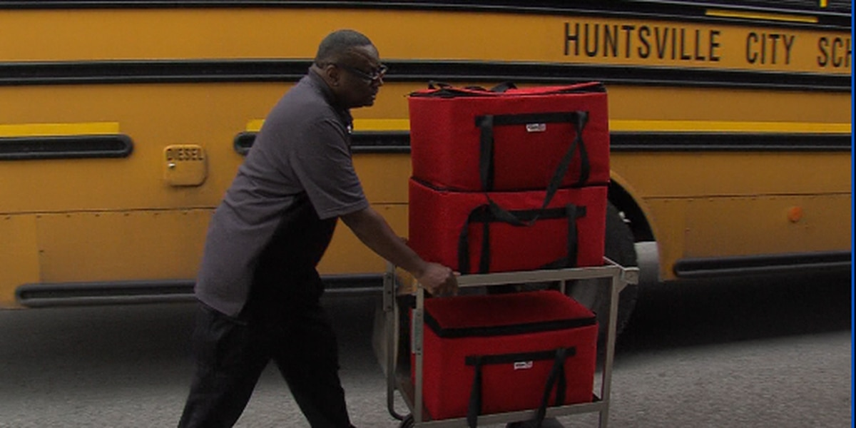 Huntsville City Schools delivering meals to students by bus