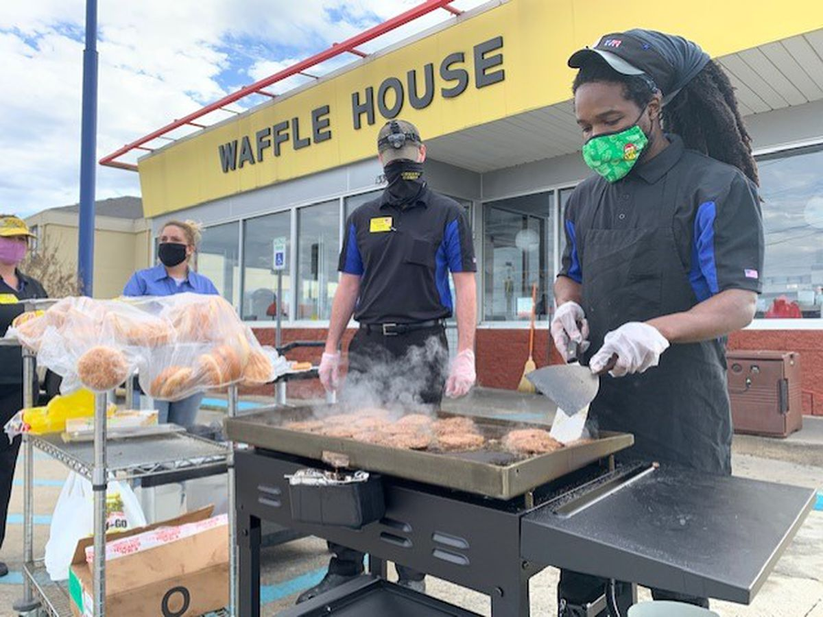 Fultondale Waffle House and Full Moon BBQ feed community following tornado
