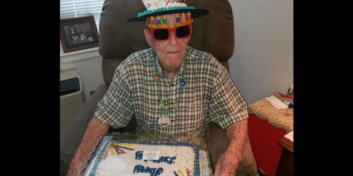 Room decorations, birthday cake and a smile on veteran's 93rd birthday