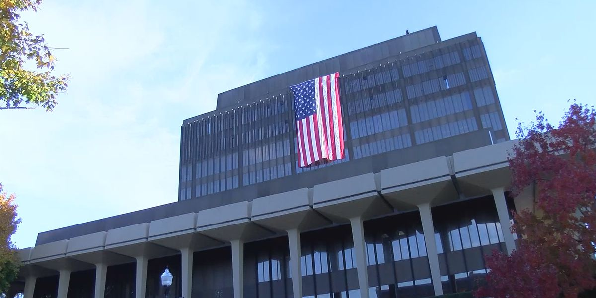 Giant flag adorns Madison County Courthouse in honor of Veterans Day