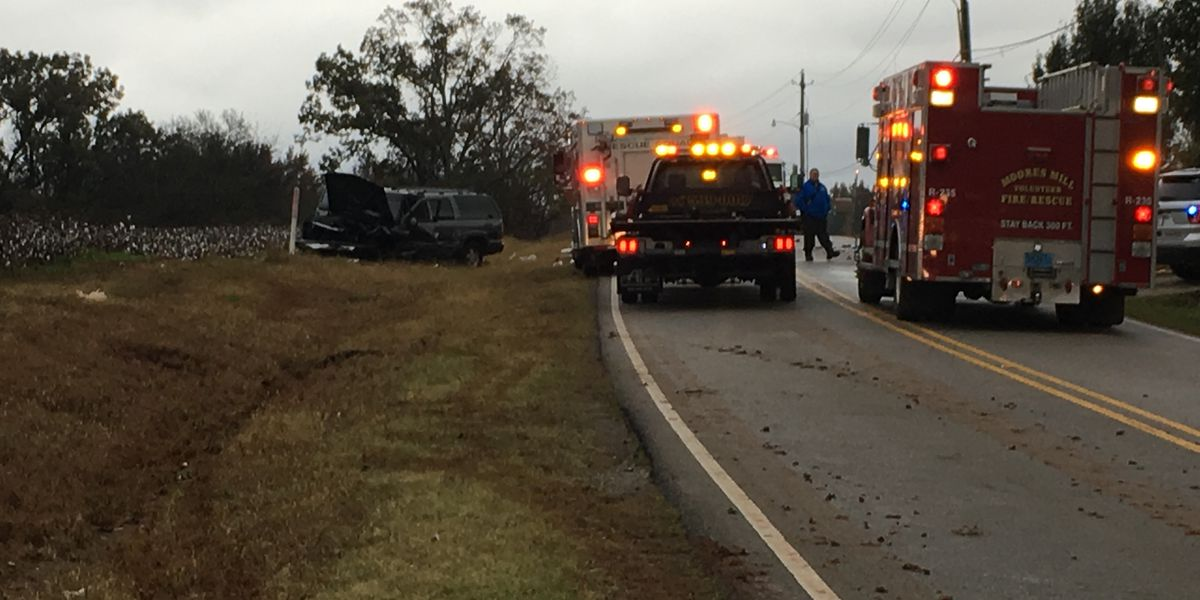 Moores Mill Road shut down after 2 ejected from car