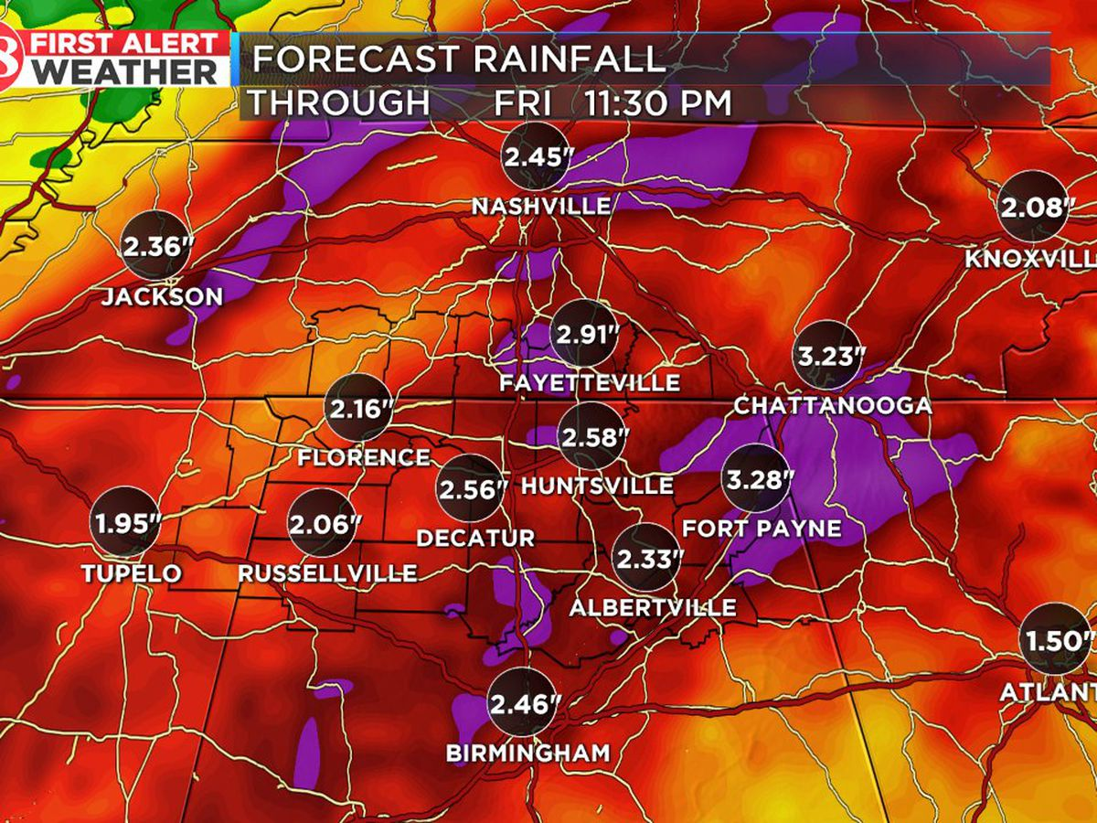 Heavy rainfall likely Wednesday