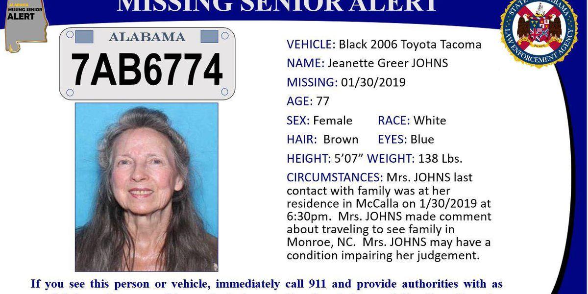 Missing Senior Alert canceled for McCalla woman