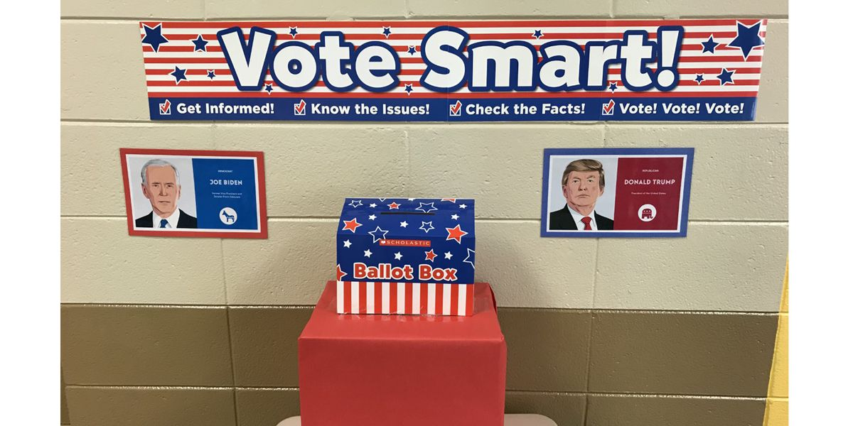 Elementary school students vote in mock elections