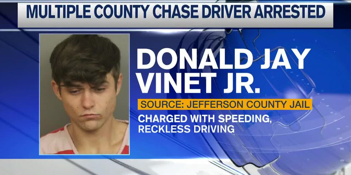 High speed chase ends with Donald Jay Vinet, Jr. in custody