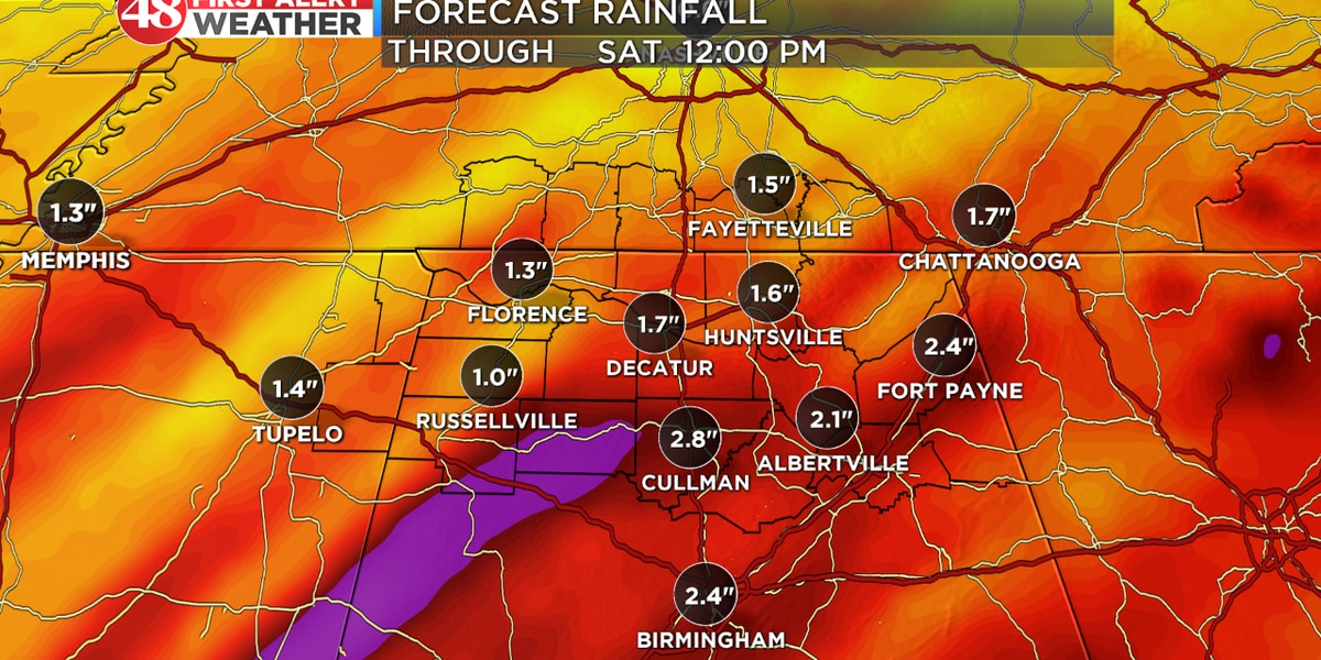Widespread rain chances for 2nd half of week