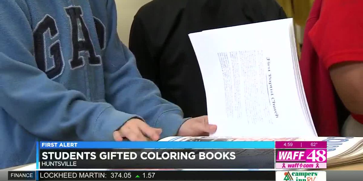 Elementary students gifted Huntsville coloring books