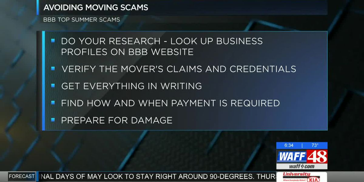 Better Business Bureau warns of Summer Moving Scams