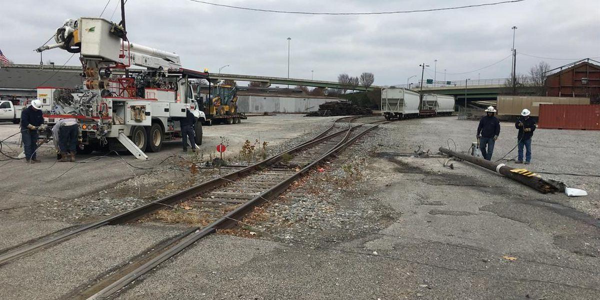 Train hits power line in north Huntsville