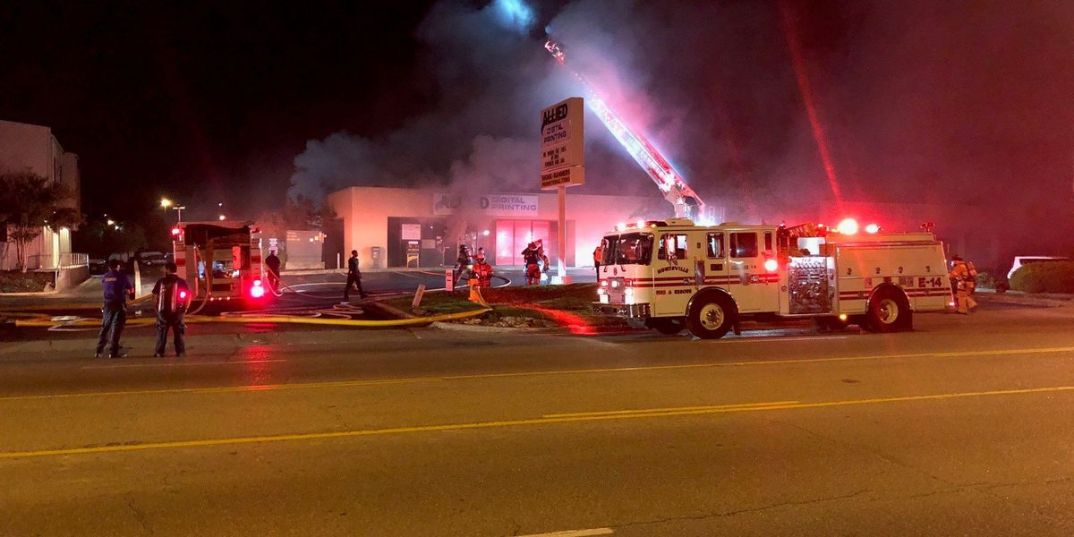 Fire erupts at Huntsville printing company
