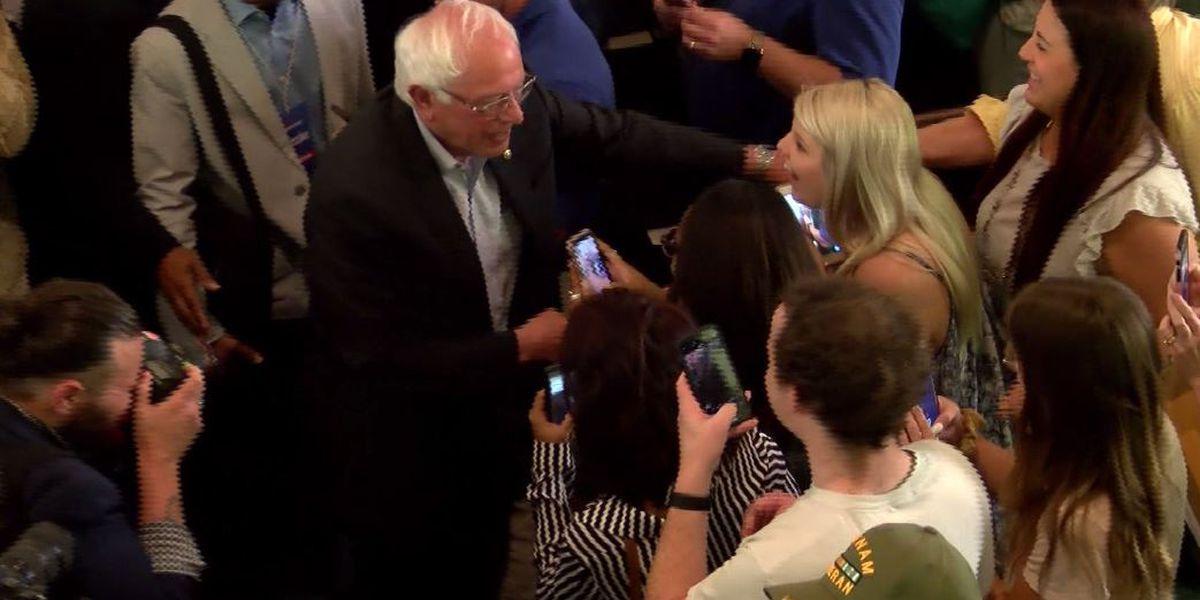 Presidential candidate Bernie Sanders talks in Montgomery