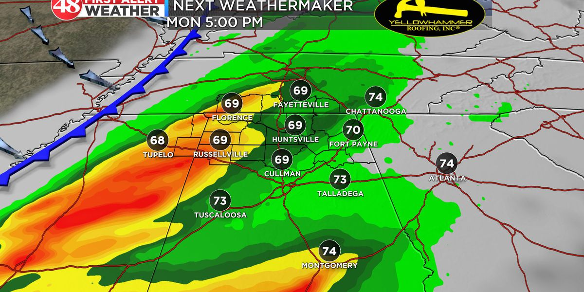 Storms possible Monday across Tennessee Valley